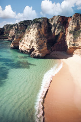 'Turquoise Crescent', Portugal, The Alrgarve, Lagos, Praia Dona Ana (WanderingtheWorld (www.ChrisFord.com)) Tags: ocean travel vacation sun praia beach portugal water colors beautiful relax ana interesting bright turquoise relaxing wave sunny visit lagos tropical colored algarve tropics dona the