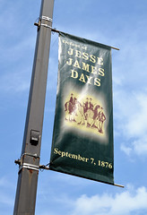 Jesse James Days (jpellgen (@1179_jp)) Tags: travel summer usa minnesota sign america nikon midwest downtown banner august roadtrip nikkor mn northfield jessejames 2014 d5100