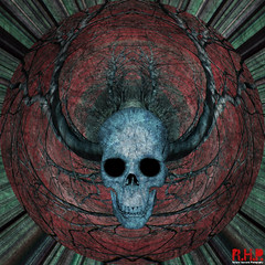 Skull Theory (Richard Hayward Photography) Tags: uk blue red tree green eye art texture composite photoshop canon circle print square dead manchester photography eos death skull for weird photo crazy pain artwork mask image head sale d teeth manipulations canvas sphere richard 600 round layer layers hayward misery photoart centered edit manipulate rhp canoneos600d richardhaywardphotography