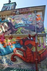 SupaKitch + AlxOne + Invader_0322 quai de la Loire Paris 19 (meuh1246) Tags: streetart paris chat spaceinvaders invader animaux oiseau mosaque quaidelaloire supakitch paris19 alxone