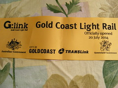 The G: Opening Day souvenirs. (TimBo's pics) Tags: tram southport surfersparadise bombardier broadbeach lrv theg lightrailvehicle glink goldcoastlightrail goldlinq