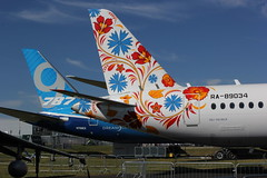 East and West tail fins at Farnborough 16.7.2014 (Retro Jets) Tags: fab ut ssj100