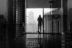 convergence. (jonathancastellino) Tags: leica city toronto abstract film window look silhouette skyline analog standing 35mm construction friend pattern looking doubleexposure watch overlay xp2 figure series ago analogue interferencepatterns bifurcation