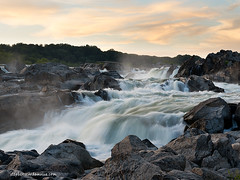 Great Falls cascade, 825 (Stephen Scardamalia) Tags: sunset water virginia waterfall rocks dusk greatfalls maryland potomac d800