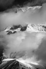 Mont Blanc (Valin Alexandre) Tags: bw sun snow france mountains ice nature rock clouds alpes landscape haze altitude peak crack gradient elevation chamonix mont blanc height avalanche dizziness climat 4807