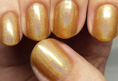 Octopus Party Nail Lacquer Gold Vibrations (http://www.thepolishedhippy.com) Tags: party gold swatch nail polish indie octopus jelly etsy shimmer holographic varnish swatches lacquer holo