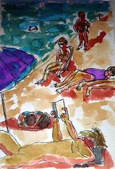 2014.Menorca.2. Gente en la playa. (joseluisgildela) Tags: watercolors menorca playas acuarelas carnetsdeviaje