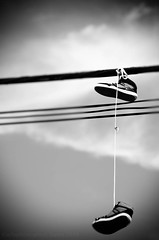 2014 365 arlophotochallenge 229-365 - pair (Arlo Bates) Tags: summer sky blackandwhite bw canada shoe nikon shoes winnipeg windy sunny august manitoba powerlines westend challenges 2014 postedtoflickr af70300mmf456ded d7000 nikond7000 2014365photoproject