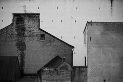 at the apartment in Lund 10 (furrycelt) Tags: city windows roof urban blackandwhite lund brick rooftop monochrome architecture buildings nikon europe apartment sweden 85mm walls d600 nikon85mmf14 nikon85mmf14afd
