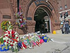 BostonMourningHouse (fotosqrrl) Tags: flowers urban boston hug memorial mourning massachusetts streetphotography firehouse ladder15 backbay boylstonstreet herefordstreet bostonfiredepartment engine33