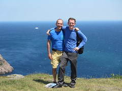 Jeff and Paul, distant iceberg, Signal Hill, St. John's, Newfoundland (Paul McClure DC) Tags: people canada newfoundland scenery stjohns iceberg atlanticocean signalhill paulmcclure july2014