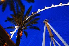 High Roller (TangibleDay) Tags: vegas blue trees night zeiss lens fun high lasvegas dusk sony casino structure palm line roller tall exciting a6000