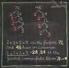 5th Grade: Math; Factoring / GCF (ArneKaiser) Tags: 5thgrade autoimport edited mrkaisersclass pineforestschool waldorf chalk chalkboard math flickr
