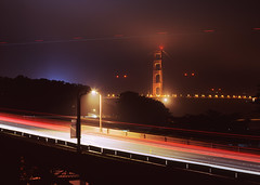 Streaking to the Bridge (RZ68) Tags: old bridge light film fog night army drive golden gate san francisco long exposure foggy trails gone velvia lincoln doyle tungsten streaks provia base presidio rz67 e100 t64