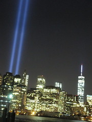 911 Memorial Light from Brooklyn Heights 2014 NYC 7695 (Brechtbug) Tags: world from new york 2001 city nyc light art monument public fountain thanks brooklyn night lite anne lights for photo memorial manhattan 911 meadows bridges ground center 11 september company wtc years lower fountains suggestions 13 heights trade zero fdny beams lites 2014 2011 09112014