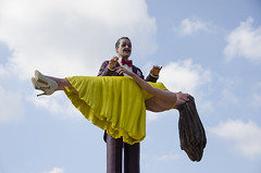 There she goes (Arne Kuilman) Tags: street sky sculpture woman amsterdam magic levitation rai vrouw standbeeld beeld magician tovenaar levitatie floatingwoman