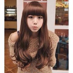 วิกผมยาว แบบสาวเกาหลีหน้าม้าปลายดัดลอนใหญ่ นำเข้า สีน้ำตาล พร้อมส่งW008 ราคา670บาท  โทรสั่งของกับ พี่โน๊ต/พี่เจี๊ยบ : 083-1797221, 086-3320788, 02-9394933 | LINE User ID : lotusnoss และ lotusnoss.com #วิกผมยาว #วิกผมยาวดัดลอน #วิกผมหน้าม้า