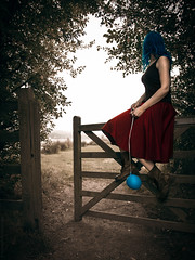Waiting for the mist to rise // 18 09 14 (Manadh) Tags: autumn trees portrait woman mist selfportrait girl gate waiting sitting pentax path sheffield balloon sigma conceptual 18 bluehair drmartens redskirt k3 rothervalley blueballoon 1835mm project365 manadh
