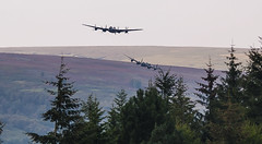Lancasters Thumper and VeRa approaching Derwent reservoir flypast 2014. (Latitude53 Photography) Tags: training dam reservoir lancaster raf 1943 bombers avro lowlevel dambusters flypast royalairforce bouncingbomb arthurharris bomberharris guygibson bombercommand rafscampton rafconingsby operationchastise barnswallis