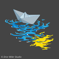 Paper Boat T-shirt (Dror Miler) Tags: water tshirt threadless artist shop drormilerstudio shirt print art instagay artwork butt reflection printed t paperboat paper boat