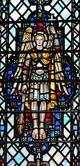 St Michael with cross and flaming sword (Powell & Sons, 1954) (Simon_K) Tags: ely cathedral cambridgeshire cambs eastanglia stained glass window saint