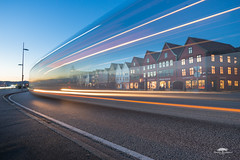 Bergen in motion (huddart_martin) Tags: city citylights longexposure bergen bryggen norge norway lighttrails bus traffic