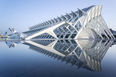 Cool Reflections (mg photography2) Tags: valenciacityofartsandscienes1 valencia arts science city reflections blue white sunrise dawn hour architecture architectural building reflection serenity scifi space age spain tourism travel espana europe canon