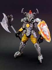 Yautis of Agimel (Djokson) Tags: knight warrior armor metal shiny steel gold silver axe shield horns medieval fantasy djokson lego moc toy