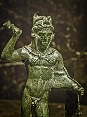 Closeup of Etruscan Statuette of Heracles Italy 4th century BCE Bronze (mharrsch) Tags: etruscan statue bronze 4thcenturybce ancient nelsonatkins museum kansascity missouri mharrsch italy herakles heracles hercules myth