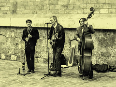 (C-47) Tags: france paris street artists music musique instruments sepia face expressions happy happiness emotion passion fun nice playing guitar violencello musical culture world trio digital