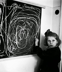"""#Tereska, young girl who grew up in a concentration camp, draws a picture of """"home"""" while living in a residence for disturbed children in Warsaw, Poland, 1948 (taken by Chem, aka David Seymour) [10001164] #history #retro #vintage #dh #HistoryPorn http:// (Histolines) Tags: histolines history timeline retro vinatage tereska young girl who grew up concentration camp draws picture home while living residence for disturbed children warsaw poland 1948 taken by chem aka david seymour 10001164 vintage dh historyporn httpifttt2gef5ry"""