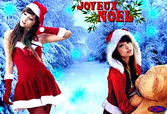 JOYEUX NOEL 2 (EDIMIX 2) Tags: sexy mini jupe noel fetes joyeuses blonde asian peluche edimix ecran fond wallpaper woman hot hum sapin neige brunette