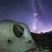 Alien Landscape. The Milky Way at the Anza-Borrego Desert Wind Caves. Kind of looks like a skull.