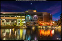Happy Holidays (Praveen's PRotography) Tags: milpitas city hall cityscape moon bayarea sanfrancisco california holiday lights reflection buildings sky nikond600 sunset december 2016
