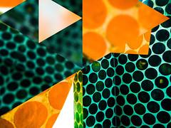 The photo app Fragment blurs this modern polka dot sculpture in Bilbao, Spain (elizabatz.jensen) Tags: modern abstract polkadot sculpture bilbao spain photoapp bright geometric