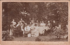 Garden gathering, with onlookers (c.1905) (pellethepoet) Tags: photograph cabinetcard garden garten groupportrait men women drinking dog europe