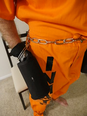 P1020846 (boblaly) Tags: prison prisoner handcuffs handcuffed chain cuffed cuffs chained chains convict locked secure shackled shackles padlock belly belt tubes restraints restrained arrested arrest uniform jumpsuit detention inmate jail