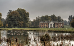 Avington House in the Mist (neilalderney123) Tags: 2016neilhoward hampshire architecture house swans geese birds lake winchester avington park olympus