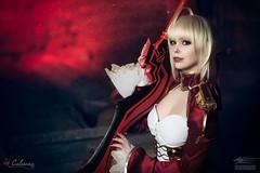 Saber Close Up (Snowgrimm) Tags: anime cosplay saber fatestaynight fateextra manga costume cute warrior red cutie blonde calssara portrait