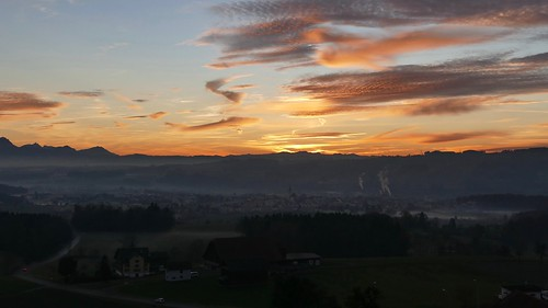 Hochdorf at sunset central Switzerland panoramic view