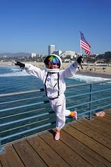 A Hopeful (Flapweb) Tags: astronaut street santa monica pier flag