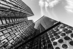 - Doubled Look UP - (Mr. LookUP) Tags: unique lookup building architecture architektur hamburg germany deutschland abstract 2016 wideangle blackwhite bw sky upward