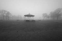 Foggy Bandstand. (Barry Miller _ Bazz) Tags: sigma1224mm canon5dmark3 monochrome widnes halton lens victoriapark foggy day bandstand outdoorphotography