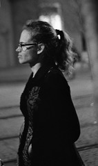 Praktica BC1 - Woman in the Night (Kojotisko) Tags: street city people bw woman streets night vintage person nightshot czech streetphotography brno cc creativecommons vintagecamera czechrepublic streetphoto nightphoto persons praktica kodak400tx prakticar prakticabc1 prakticar118f50mm