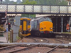 37610 & 37688 6L70, Crewe -  Sizewell service gets the green light to go, with the arrival of 156 417 at Woodbridge, on the 07.27 Lowestoft - Ipswich Service . 27 05 2014 (pnb511) Tags: train suffolk diesel railway trains coal locomotives woodbridge sizewell drs class37 rurallandscape class156 eastsuffolkline greateranglia