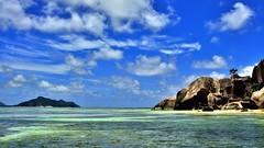 Anse la Source d`Argent, La Digue, Seychelles (flowerikka) Tags: beach water clouds palms nikon rocks indianocean bluesky seychelles ladigue d90