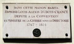 Edmond Louis Alexis Dubois-Crance plaque - 22 rue Michel-le-Comte, Paris 3rd arr (Monceau) Tags: paris frenchrevolution plaques directoire 3rdarr edmondlouisalexisduboiscrancé 22ruemichellecomte openplaques:id=39996