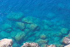 Lindos by sea-Rhodes-Greece (Magda Tudor) Tags: blue sea beach golf island bay rocks aegean greece grecia rodos rhodes lindos overview