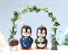 Bbq garden wedding cake topper (PassionArte) Tags: blue wedding white floral cake cat garden penguin groom bride penguins arch handmade bbq barbeque etsy toppers