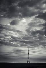 Power Pole (Udo Krau) Tags: sky blackandwhite power himmel wolken pole schwarzweiss clowds strommast